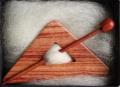 Dreiecksbrosche Rosenholz